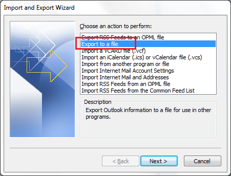 Outlook 2010 Import Step 2