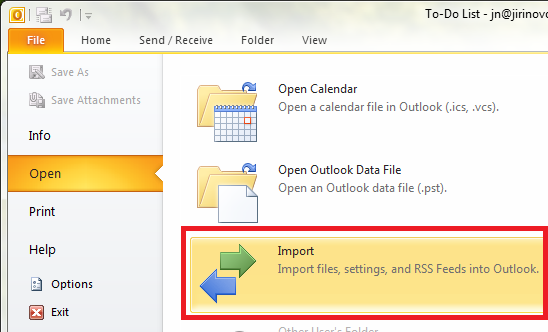Outlook 2010 Import Step 1