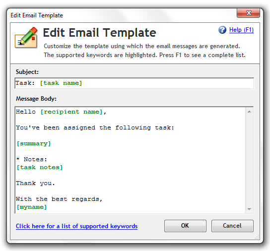 Email task template