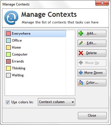 Manage contexts