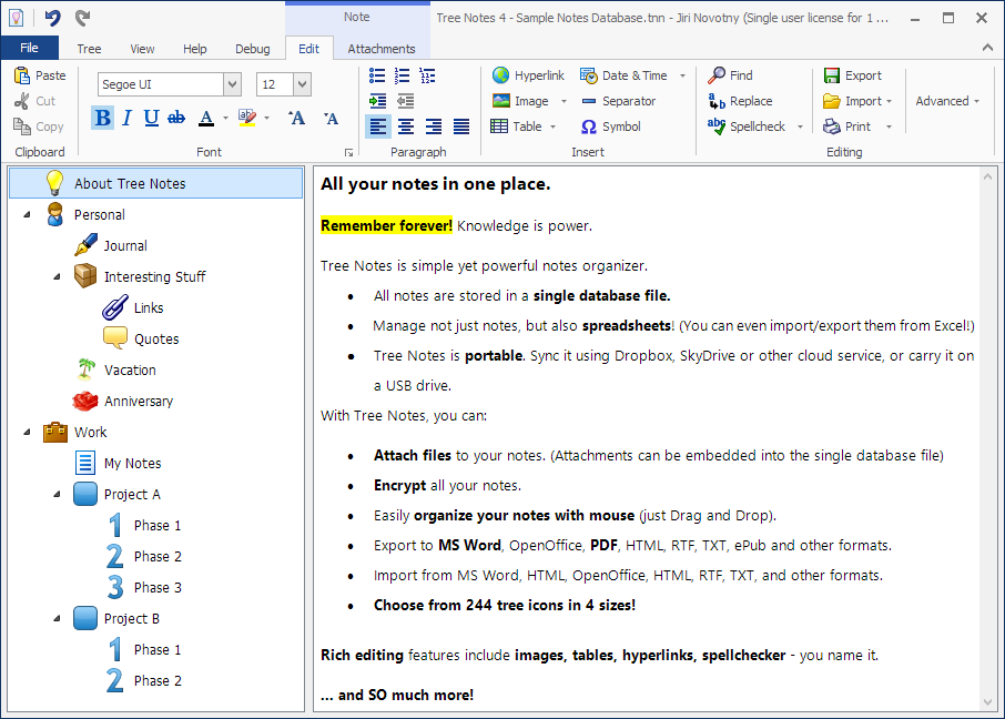 Notes Manager, Notes Organizer for Windows - Notes in tree - Free trial