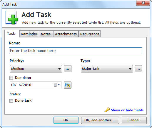 Free task management software for Windows: Swift To-Do List
