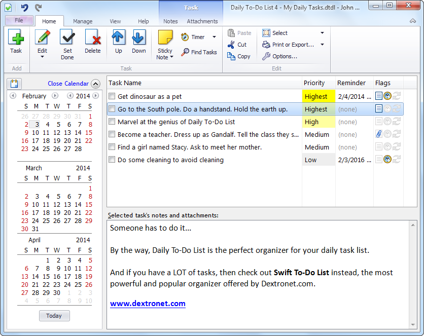 daily to do list calendar task manager screenshot