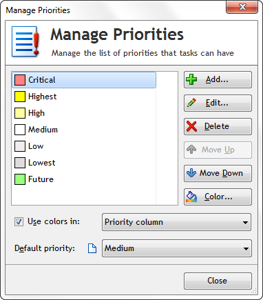Customize priorities