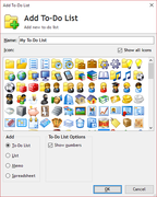 Add To-Do List window. Choose from 277 different colorful icons for your to-do lists!