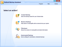 Main page of Outlook Backup Assistant