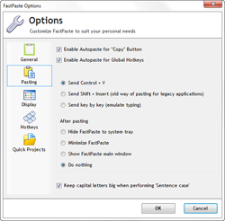 Clipboard pasting options in FastPaste