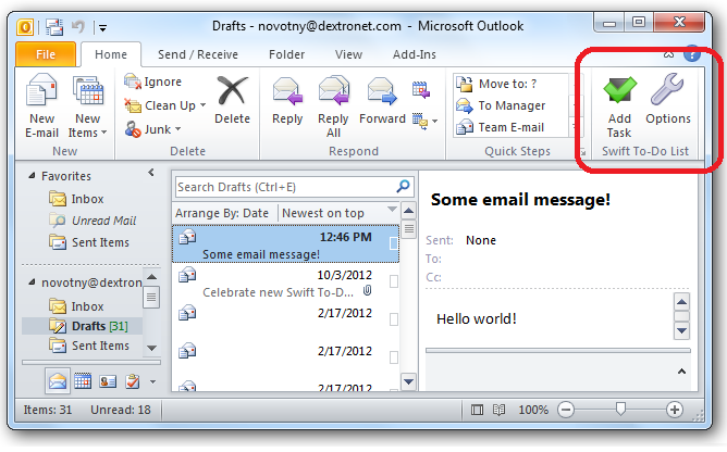 Outlook Add-In to create tasks from emails
