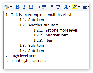 Multi-level numbered lists (outlines) in notes and memos