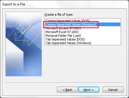 Outlook 2010 Import Step 3
