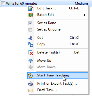 Start Time Tracking for a task