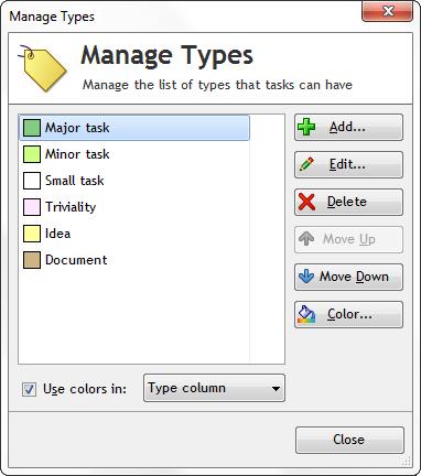 Manage task types