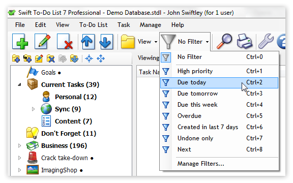 Filter switch in toolbar