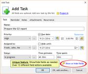Add Task window