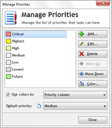 Manage priorities