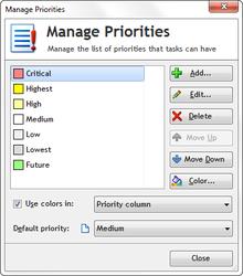 Manage priorities