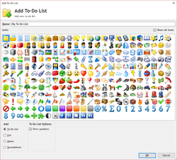Expanded Add To-Do List window with 277 different icons to choose from