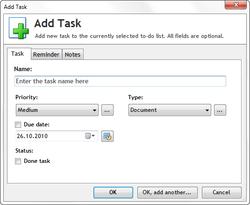 Add Task in Task List Guru
