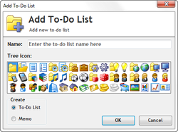 Add To-Do List dialog with 48 colorful icons