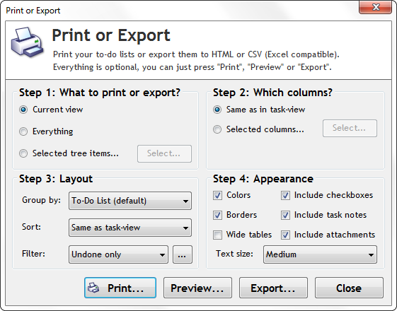 Print and export tasks in Swift To-Do List